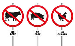 Vegetarian Meatless Prohibition Sign. No beef, pork and chicken - three prohibitory signs with crossed out pig, cow and hen - a symbol against meat production Stock Image