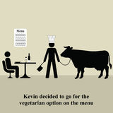 Vegetarian menu. Kevin decided to opt for the vegetarian menu Royalty Free Stock Images