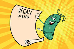 Vegetarian menu announces cucumber. Retro comic book style cartoon pop art vector illustration Royalty Free Stock Photo