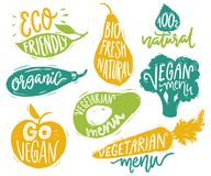 Vegetarian menu badges and stickers for cafe and restaurants. Vegan text on the vegetable labels for natural products. Vegetarian menu badges and stickers for Royalty Free Stock Photography
