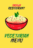 Vegetarian menu card for Indian restaurant. Vector illustration. Typographic grunge design. Stock Photos