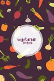 Vegetarian menu cover template decorated with fresh delicious organic vegetables and mushrooms scattered on black Vector Illustration