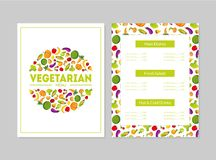 Vegetarian Menu Design Template, Main Dishes, Fresh Salads, Hot and Cold Drinks, Cafe or Restaurant identity Vector. Vegetarian Menu Design Template, Main Dishes royalty free illustration