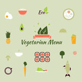 Vegetarian menu icons. Vegetarian menu icons in the flat color style Royalty Free Stock Photography