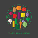 Vegetarian menu. Icons of vegetables in a flat style. Royalty Free Stock Photography
