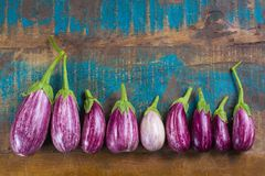 Vegetarian menu template - small fresh eggplants on wooden table Royalty Free Stock Photography