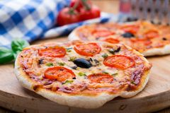 Vegetarian mini pizza Stock Images