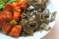 Vegetarian mock meat and seaweed cuisine. Sumptuous looking vegetarian mock meat and seaweed cuisine. Suitable for concepts such as diet and nutrition, healthy royalty free stock images