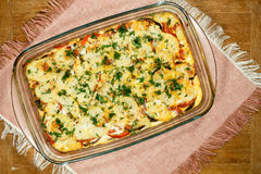 Vegetarian Moussaka. Traditional Greek dishes. Stock Photos