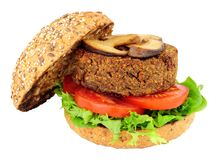 Vegetarian Mushroom Burger. Isolated on a white background Royalty Free Stock Photos
