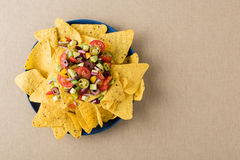 Vegetarian nachos with salsa and sour cream dips Royalty Free Stock Images