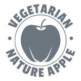 Vegetarian nature apple logo, vintage style Royalty Free Stock Photos
