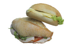 Vegetarian and Non Vegetarian Baguette Sandwiches royalty free stock image