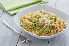 Vegetarian noodles with Leek Stock Photos