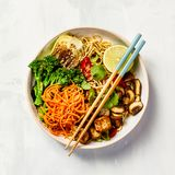 Asian Tofu Soba Noodle Bowl Royalty Free Stock Images
