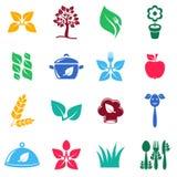 Vegetarian organic food icons Stock Photography
