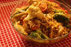 Vegetarian Oriental Noodle. Big portion of Vegetarian Oriental Noodle  on Kitchen Stock Image