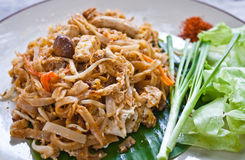 Vegetarian pad thai (thai food). Vegetarian thai food-stir-fried rice noodles (Pad Thai Royalty Free Stock Photography