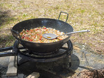 Vegetarian paella at picnic royalty free stock photo