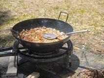 Vegetarian paella at picnic Royalty Free Stock Photo