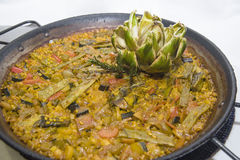 Vegetarian paella,. Typical rice dish from valencia Stock Photo