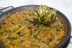 Vegetarian paella. Typical rice dish from valencia Royalty Free Stock Photo