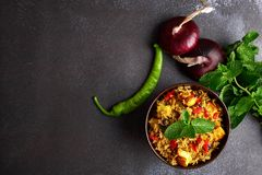 Vegetarian paneer biryani at black background. Paneer biryani is traditional veg indian cuisine dish with paneer cheese, basmati rice, masala, chili pepper stock photo