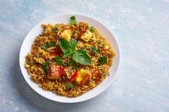 Vegetarian paneer biryani at light blue background. Vegetarian paneer biryani at blue background. paneer biryani is traditional veg indian cuisine dish with stock images