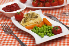 Vegetarian pasta Stock Images