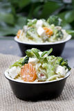 Vegetarian pasta with broccoli, ricotta, basil, carrot and olive Stock Images
