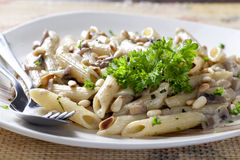 Vegetarian Pasta With Mushrooms Stock Photography
