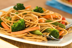 Vegetarian Pasta Stir Fry Stock Photo