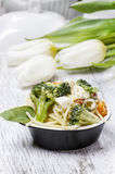 Vegetarian pasta with vegetables Stock Photo