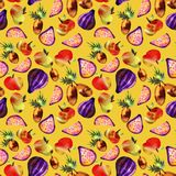 Vegetarian pattern with fruits and vegetables royalty free illustration