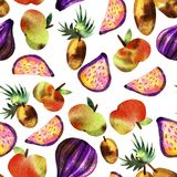 Vegetarian pattern with fruits and vegetables stock photo