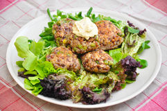 Vegetarian Patties. On a plate with salad Royalty Free Stock Photo