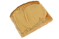 Vegetarian Peanut Butter Spread on Wholemeal Toasted Bread Stock Images