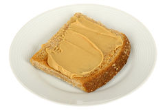Vegetarian Peanut Butter Spread on Wholemeal Toasted Bread Royalty Free Stock Photography