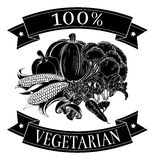 Vegetarian 100 percent label. With vegetables and reading 100 percent vegetarian royalty free illustration