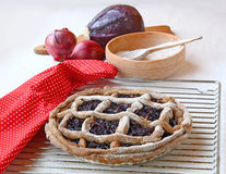 Vegetarian pie on the background of the ingredients Royalty Free Stock Images