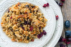Vegetarian pilaf from a mixture of wild and white rice. Royalty Free Stock Photography