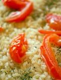 Vegetarian pillau. Asian vegetarian pillau closeup shot. With tomato Stock Image