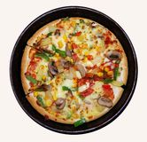Vegetarian pizza. Isolated on white Royalty Free Stock Images