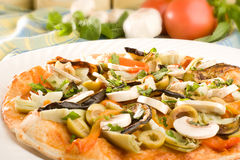 Vegetarian Pizza. With mushrooms, olives and artichokes Royalty Free Stock Photo