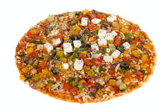 Vegetarian pizza. Photo on the white background Royalty Free Stock Photography