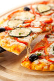 Vegetarian Pizza. Made from Mozzarella Cheese, Paprika, Tomatoes and Mushrooms Stock Image