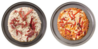 Vegetarian Pizza. A comparison of two vegetarian pizzas, cooked and uncooked Royalty Free Stock Images