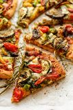 Vegetarian pizza with addition grilled vegetables and aromatic herbs, divided into portions. Close up royalty free stock images