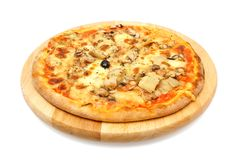 Vegetarian pizza with artichoke on wooden plate Royalty Free Stock Photography