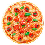 Vegetarian pizza with cherry tomatoes Stock Image